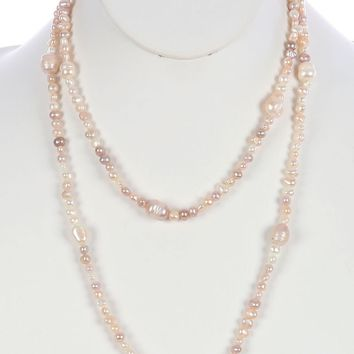 Beige Fresh Water Pearl Extra Long Wraparound Necklace