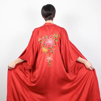 Vintage Silk Kimono Jacket Red Rainbow Floral Embroidered Maxi Kimono Robe Draped Asian Kimono Boho Embroidery Duster Jacket S M Medium L