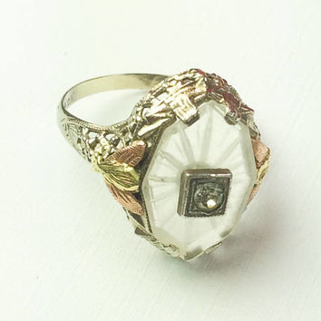 Camphor Glass Ring, Rose Gold, White Gold, Signed, 1920s Vintage SALE