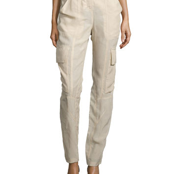 Slim-Fit Parachute Pants, Desert, Size: