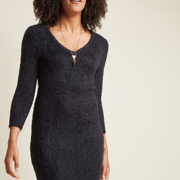 Fuzzy Feeling Sweater Dress in Black