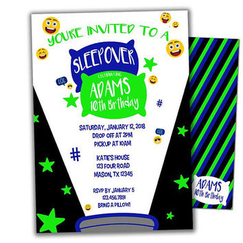 Emoji Sleepover Invitation - Neon Slumber Party Invitations - Boy Pajama Birthday Party - Boy Sleepover Party Invites - Emoji Birthday