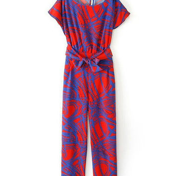 Blue and Red Jumpsuit Geometric Print Short Sleeve Belted Jumpsuit