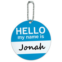 Jonah Hello My Name Is Round ID Card Luggage Tag