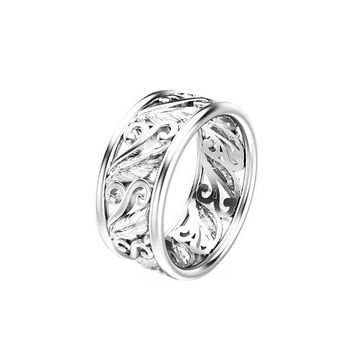 Unique Leaf Design Wedding Ring 14K White Gold Wedding Band Art Deco  Ring Filigree Wedding Ring