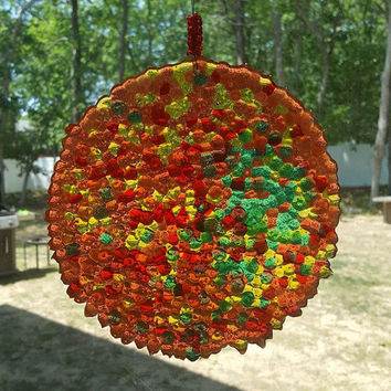 Sun Catcher Ornament, Outdoor Holiday Decoration, Window Decor, Mosaic Decor, Stained Glass , Light Catcher, Tree Ornament, Holiday Gift