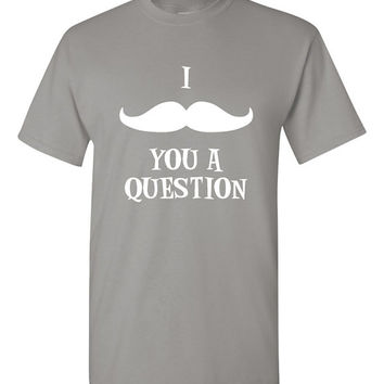 I mustache you a question. Mustache hipster tshirt funny tshirt mustache accessory. hipster tshirt popular trendy tshirt mustache man TH-051