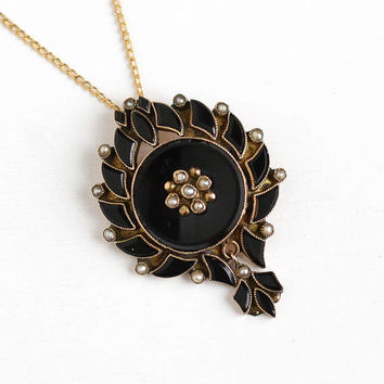Antique 10k Rosy Yellow Gold Victorian Onyx Mourning Pendant Necklace - Vintage Late 1800s Flower Seed Pearl and Black Gemstone Fine Jewelry