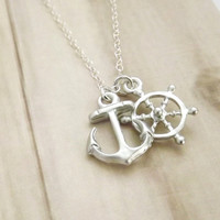 Anchor Ship Wheel Nautical Necklace Sterling Silver
