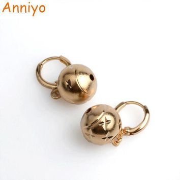 Anniyo 1.2cm Light Gold Color Bead Earrings Ethiopian For Women's/girls African Round Ball Earrings Jewelrynigeria Gift #045204