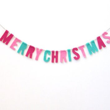 Merry Christmas felt banner, petite felt room banner in fucshia, pink, and green felt
