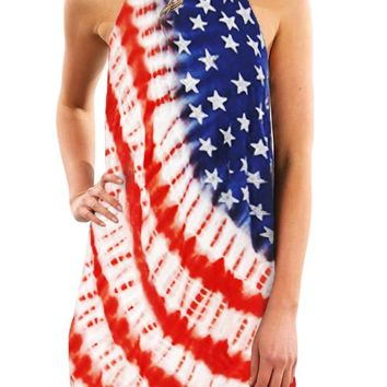 Trendy Sleeveless Summer American Flag Print Dress
