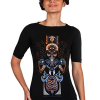 Women's t-shirt-Kundalini Yoga Top- ChakraTop-Women's T-shirt-Graphic tee -Consciousness-Snake-Geometric-Isometry-Printed T-shirt-Psy Top