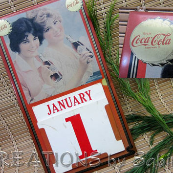 Metal Coca-Cola Calendar Sign 1981 by Markatron with Cards, Perpetual, Coke Memorobilia Collectible Vintage FREE SHIPPING (143)