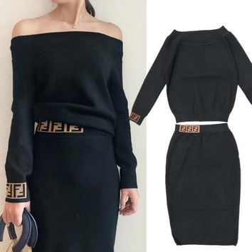 FENDI Autumn Winter New Trending Women Stylish F Letter Off Shoulder Long Sleeve Sweater Top Skirt Two Piece Set