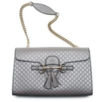 ONETOW Gucci Emily GG Micro Shoulder Lousse Grey Gray Leather New Handbag