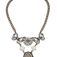 Betsey Johnson Mixed Bows and Crystal Frontal Necklace