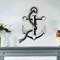 Nautical Anchor Sea Ocean Bathroom Wall Vinyl Decal Art Sticker Home Modern Stylish Interior Decor for Any Room Smooth and Flat Surfaces Housewares Murals Graphic Bedroom Living Room (2407)
