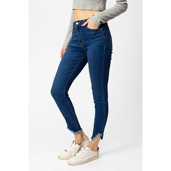 Kan Can Distressed Ankle Mid rise Jean - Midwash
