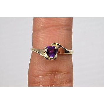 10k Yellow Gold .50 ct Heart Purple Amethyst Solitaire Ring Not Enhanced Size 7