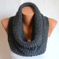 infinity scarf cowl - hand knit dark grey infinity scarf cowl circle scarf winter cowl christmas gifts birthday gifts neck warmers