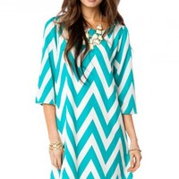 Forever Zig Zag Shift Dress in Laguna - ShopSosie.com