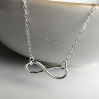 Sterling Silver Infinity Necklace  / Sterling Silver Necklace/ Contemporary Silver Infinity / Modern Silver Infinity / Bridesmaids Jewelry