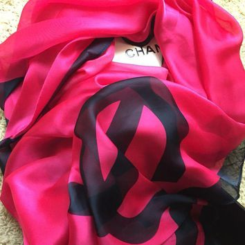 AUTHENTIC CHANEL CC LOGO CHANEL PRINT 100% SILK SCARF
