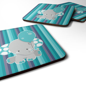 Grey Elephant with Balloon Foam Coaster Set of 4 BB6842FC