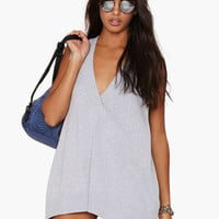 Gray Sleeveless V-Neck Tunic Top