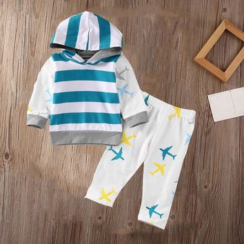 Organic Airplane Newborn Baby Boy Girl Clothes Set Tops T-shirt Pants Long Sleeve Cotton Blue 2Pcs Outfits Baby Boys Set