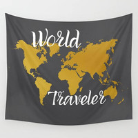 Wall Tapestry World Traveler Map Grey Gray Gold White Typography Quote Saying Dorm Room Apartment Home Decor Travel Tapestries