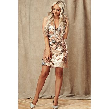 Sound The Alarm Sequin Dress (Rose Gold/Silver)