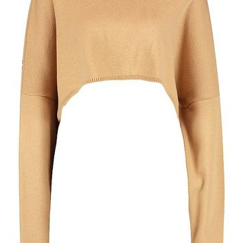 Oversized Sleeve Crop Boxy Jumper | Boohoo