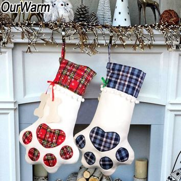 OurWarm Large Plaid Paw Christmas Stocking for Dog Cat Christmas Gift Bags	Xmas Tree Ornaments New Year Decoration navidad