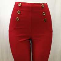 RED High Waist Dress Pants Six button front by HotRodJohnnyDesigns