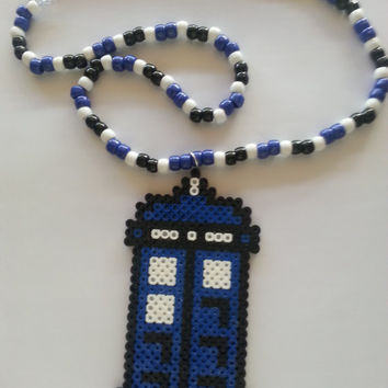 Dr.Who Tardis kandi necklace / kandi necklace / perler jewelry
