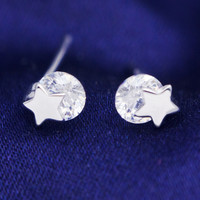 Simple fashion  rhinestone and stars 925 sterling silver earrings,a perfect gift