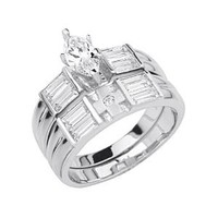 .925 Sterling Silver Rhodium Plated Cross Wedding Engagement Ring and Matching Band 2 Piece Set