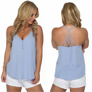Hot Sexy Summer Beach Comfortable Stylish Bralette T-shirts Spaghetti Strap Tops Women's Fashion Vest [7767265095]
