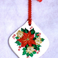 Porcelain Ornament With Poinsettias and Flowers