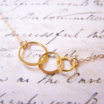 14k Gold Filled Eternity Triple Ring Circle Danity Everyday Necklace  / Gift for Her