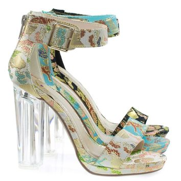 Cargo Beige Phoenix By Delicious, Lucite Perspex Clear Block Heel Sandal, Oriental Stitch Embroidery