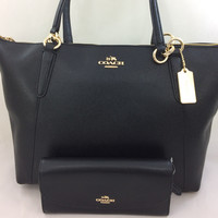 New Authentic COACH F57526 AVA Crossgrain Leather Tote Shoulder Bag Purse Black+Wallet Set