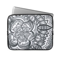 Eyed Flower Mandala Laptop Sleeve from Zazzle.com
