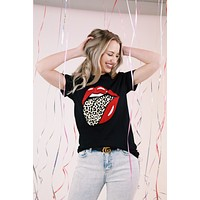 Leopard Tongue Lip Graphic Tee, Black   Extended Sizes Available