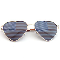 Premium US Aviator USA American Flag Sunglasses United States Stars Heart Shades