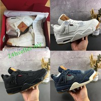 【3colors】Original Air Jordan 4 x Levi's AJ4 Denim Men Shoes AO2571-401