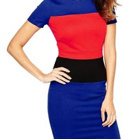 Color Block Patchwork Bodycon Women Work Dress Business Summer Casual Dress Stretch Fashion New Arrival 2016