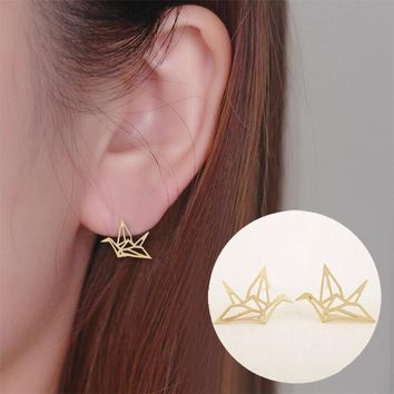 Shuangshuo Fashion Earrings Lovely Wild Origami Crane Stud Earrings for Women Fancy Pendientes Birds Earrings Wedding Earrings